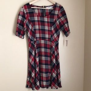 JustFab Fit and Flare Plaid Dress